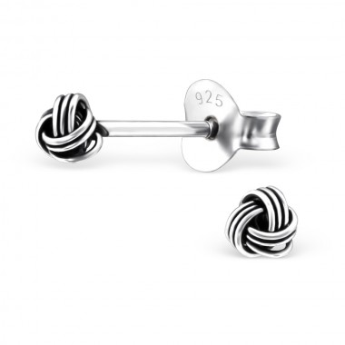 Knot - 925 Sterling Silver Simple Stud Earrings SD27467